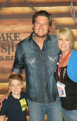 My son meeting his idol, Blake Shelton